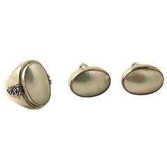 Michael Dawkins Mabe Pearl Sterling Silver Earrings and Ring
