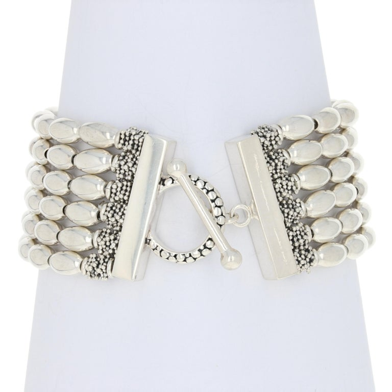 Brand: Michael Dawkins    Metal Content: Guaranteed Sterling Silver as stamped  Bracelet Style: Beaded Six-Strand  Measurements: length 7