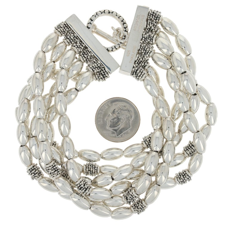 Women's or Men's Michael Dawkins Six-Strand Beaded Bracelet, Sterling Silver Toggle Clasp For Sale