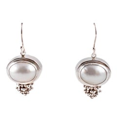"""Michael Dawkins"" Sterling Silver Pearl Earrings"