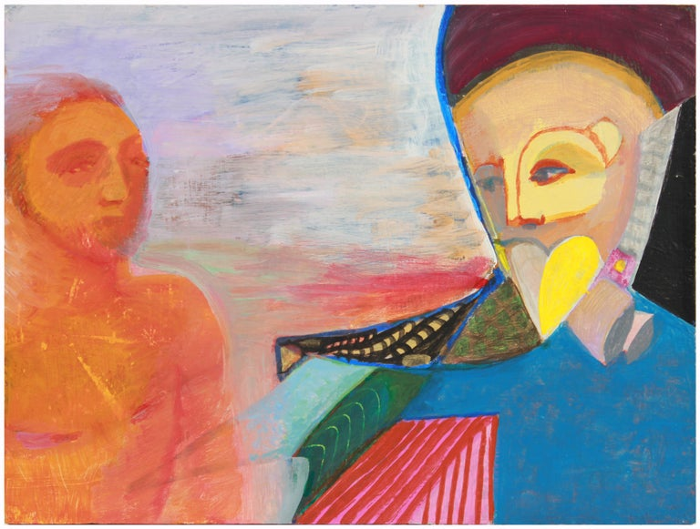Colorful Surrealist Figures in Oil with Blue, Orange & Red, October 10, 1995 - Painting by Michael di Cosola