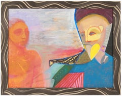 Colorful Surrealist Figures in Oil with Blue, Orange & Red, October 10, 1995