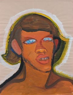 Expressionist Portrait in Gouache, Mid 20th Century