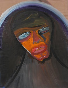 Moody Surreal Portrait Mid-Late 20th Century Gouache