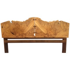 Michael Elkan Burled Maple and Walnut King Headboard