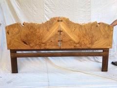 Michael Elkan Burled Maple and Walnut King Headboard