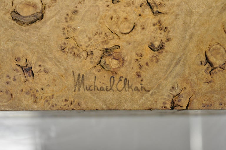 Michael Elkan Large Burl Wood Studio Crafted Jewelry Trinket Desk Storage Box For Sale 3