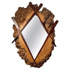 Michael Elkan Maple Burl & Walnut Mirror