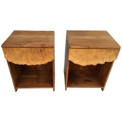 Michael Elkan Pair of Maple and Walnut Nightstands