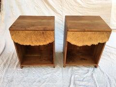 Michael Elkan Pair Maple and Walnut Nightstands