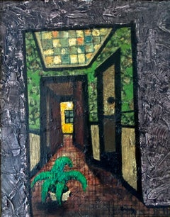 """ YELLOW DOOR ""  ABSTRACTION CROOKED ROOM MID CENTURY MODERN"