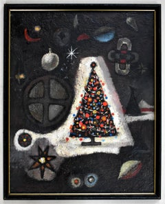 """CHRISTMAS TREE"" HOLIDAY MID CENTURY ABSTRACT"