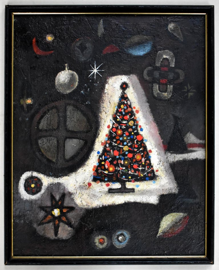 """Michael Frary Interior Painting - """"CHRISTMAS TREE"""" HOLIDAY MID CENTURY ABSTRACT"""