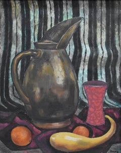 """""""THE PITCHER""""  Mid Century Modern Texas Painting Oil"""