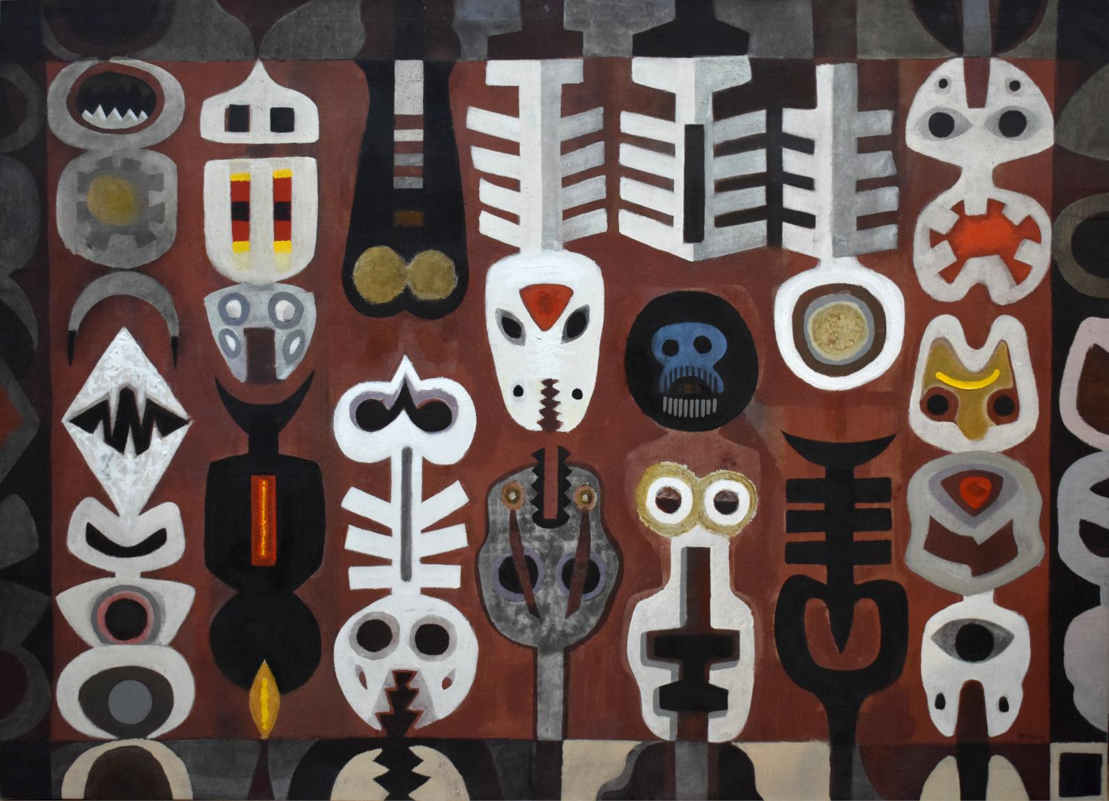 """""""TOTEMIC SHAPES"""" LARGE MID CENTURY MODERN ABSTRACT OF TOTEM POLES"""