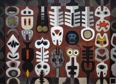 """TOTEMIC SHAPES"" LARGE MID CENTURY MODERN ABSTRACT OF TOTEM POLES"
