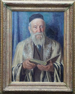 The Rabbi - British 1960's religious Jewish male portrait oil painting exhib art