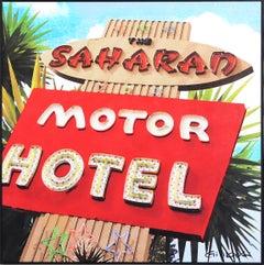 Saharan Motor Motel LA - Mid-Century Modern Original Framed Artwork