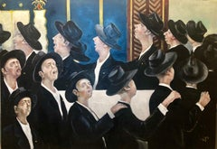 Bochurim Dancing 770 Chabad Synagogue Judaica Jewish Chassidic Art Oil Painting