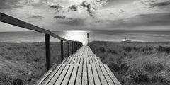 Rantumer Steg - contemporary black/white photography ocean landscape, footbridge