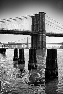View on Brooklyn Bridge- contemporary black & white New York City photography