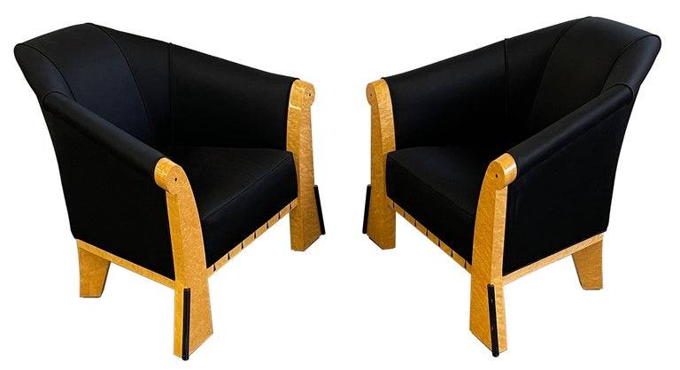 Post-Modern Michael Graves Pair of Postmodern Lounge Chairs in Silk and Bird's-Eye Maple For Sale