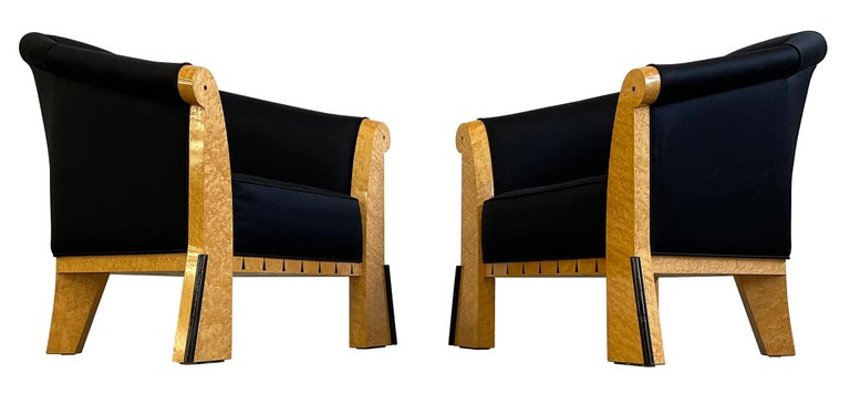American Michael Graves Pair of Postmodern Lounge Chairs in Silk and Bird's-Eye Maple For Sale