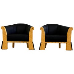 Michael Graves Pair of Postmodern Lounge Chairs in Silk and Bird's-Eye Maple