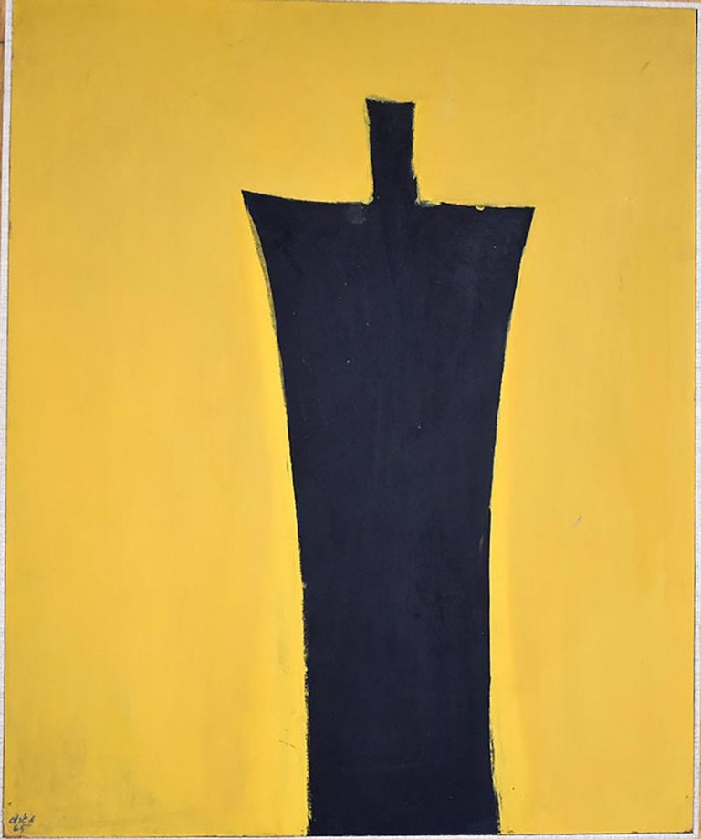 Untitled [Black Figure on Yellow Background] - Israeli Art - Painting by Michael Gross