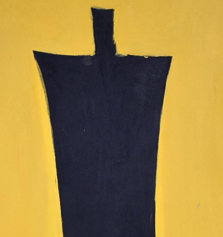 Untitled [Black Figure on Yellow Background] - Israeli Art For Sale 1