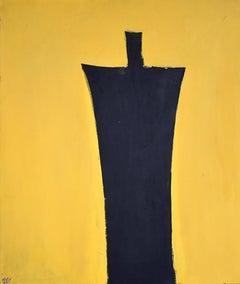 Untitled [Black Figure on Yellow Background] - Israeli Art