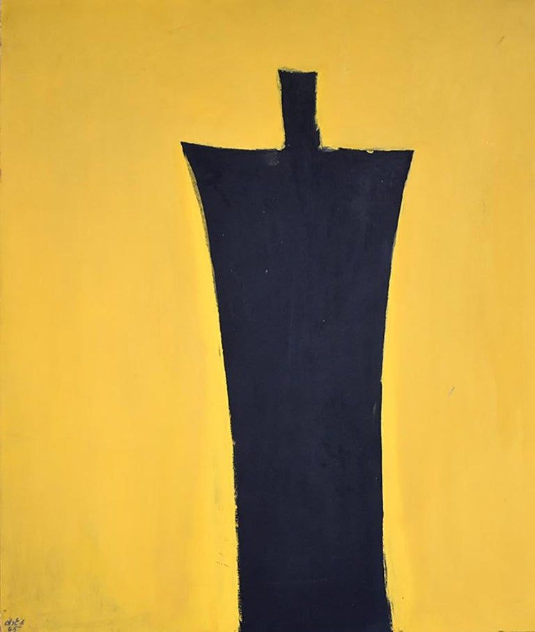 Michael Gross Abstract Painting - Untitled [Black Figure on Yellow Background] - Israeli Art
