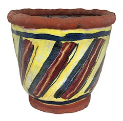 """""""Basket Weave Bacon Bowl,"""" Yellow Ceramic with Bacon signed by Michael Gross"""