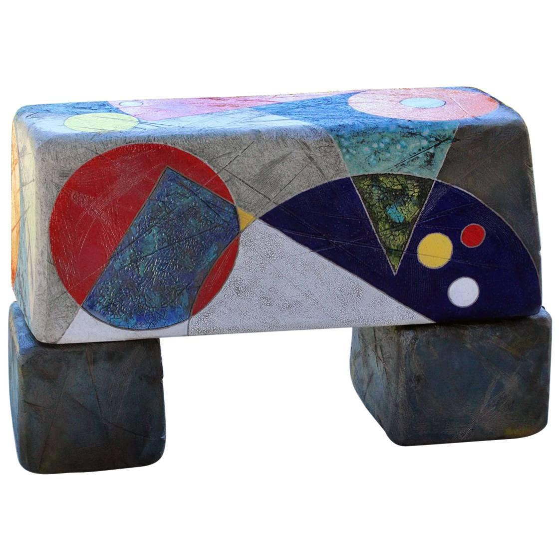"Michael Gustavson Ceramic Indoor/Outdoor ""Summer Solstice Bench"""