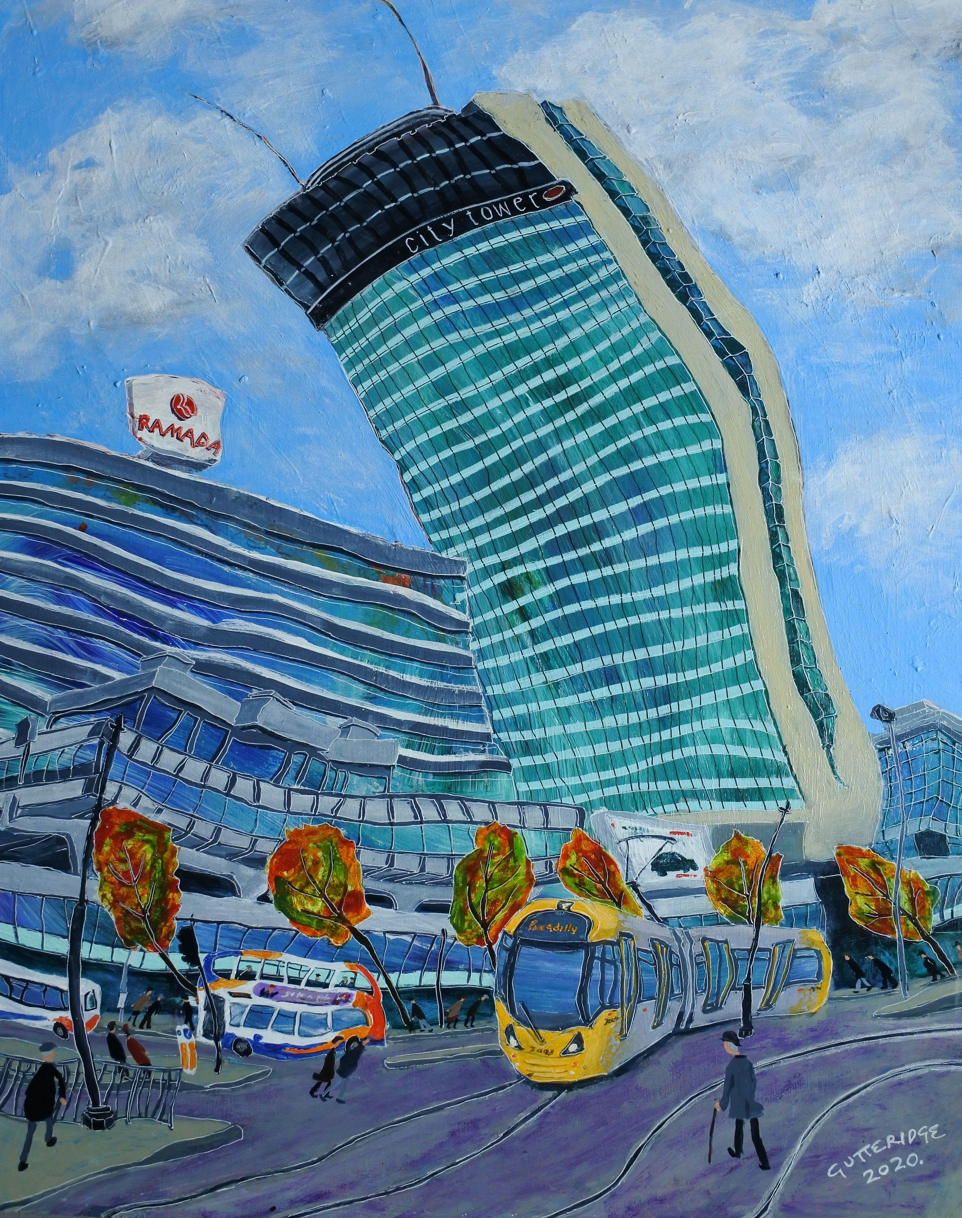 City Tower, Manchester, with Lowry Figures, Painting, Acrylic on Wood Panel