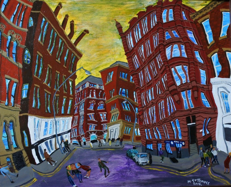 An urban landscape of a street in an area of city of Manchester UK that contains many old red-brick Victorian cotton warehouses called the Northern Quarter the back streets of which which I find exciting to paint and which afford good opportunity