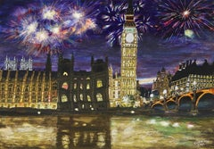 Fireworks Over the Houses of Parliament, London, Painting, Acrylic on Wood Panel