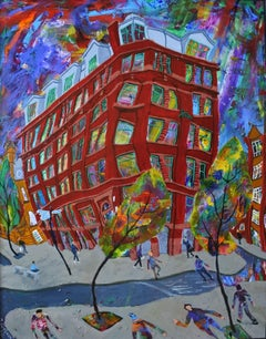 Red Building with Trees on Violet Background, Painting, Acrylic on Wood Panel