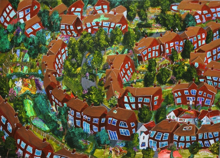Description: A painting of a slice of semi-detached Suburbia in the Spring or Summer time, not a representation of any specific place but mostly a product of my own imagination. I began this painting in 2011 but didn't finish it until 2020. Each