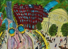 Tram Station in St Peter's Square No 8, Painting, Acrylic on Wood Panel
