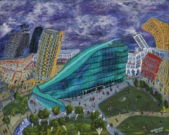 Urbis with Lowry Matchstick Men, Painting, Acrylic on Wood Panel