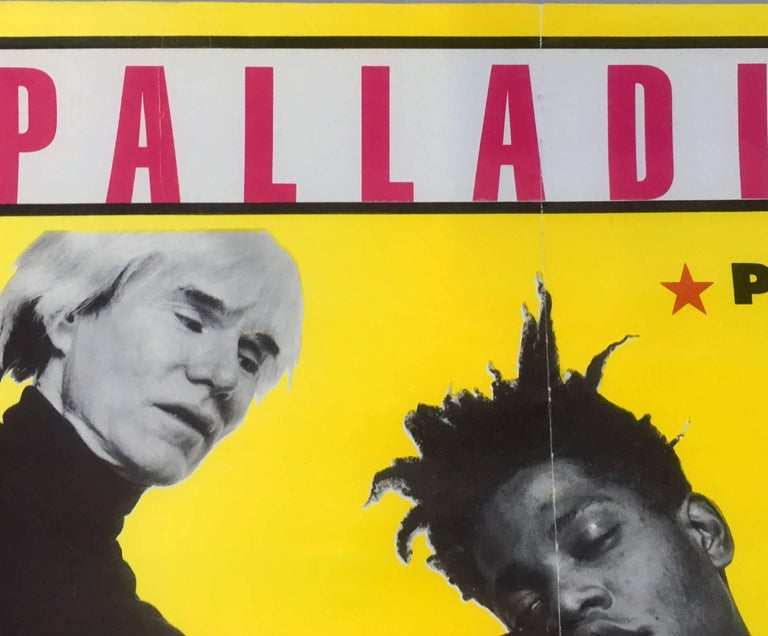 Andy Warhol/Jean Michel Basquiat: Original Paintings Exhibition Poster, 1985: 'Palladium Presents Warhol And Basquiat'  The rare original, highly sought-after companion piece to the iconic exhibition poster of the two great artists standing side by