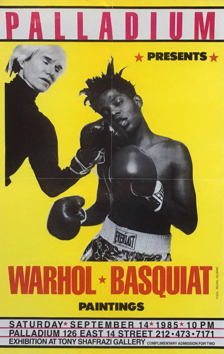 Warhol, Basquiat Boxing Poster (Shafrazi, The Palladium) - Print by Michael Halsband
