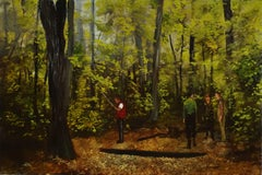 Figures with a Device, landscape oil painting on canvas on board