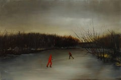 Skater, figurative oil painting on canvas