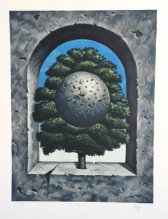 A POINT OF HONOR Hand Drawn Lithograph, Surrealist Tree w Sphere, Concrete Arch