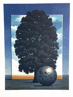 LIGHT OF DISCOVERY Hand Drawn Lithograph, Surrealist Landscape, Night Sky, Tree