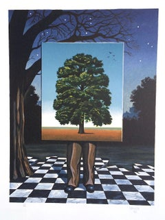 PUBLIC OUTCRY Signed Lithograph, Surrealist Scene Man, Tree, Checkered Tiles