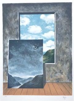 Random Selection 2, Hand Drawn Lithograph, Surrealist Landscape, Window View
