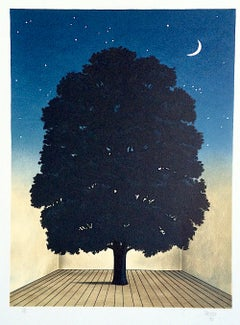 SONG OF PRAISE Hand Drawn Lithograph, Surrealist Dark Tree, Crescent Moon